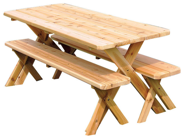 Cedar 6 Foot Cross Leg Picnic Table With 2 Detached