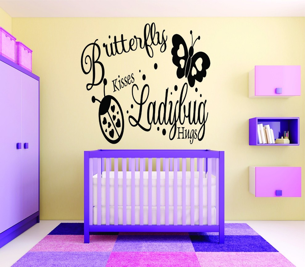 Decal Butterfly Kisses Ladybug Hugs Baby Girl Bedroom 20x30 Contemporary Kids Wall Decor By Design With Vinyl