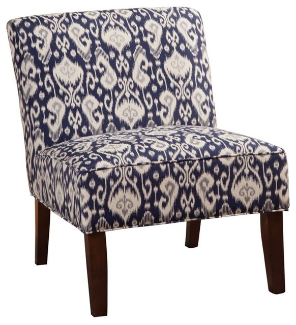 Armless Accent Chair Navy Blue And White Ikat Fabric