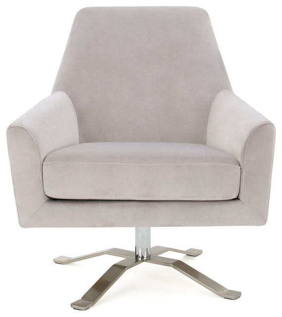 Aegis Gray New Velvet Swivel Club Chair Contemporary
