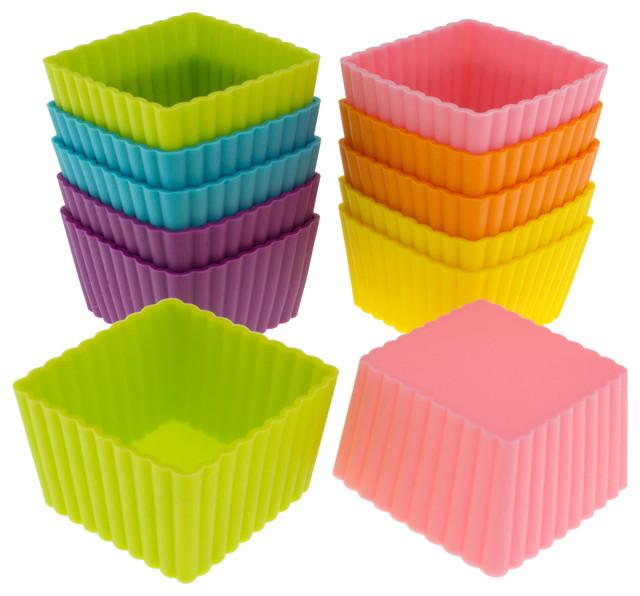 Freshware 12-Pack Silicone Mini Square Baking Cup, Multicolored.