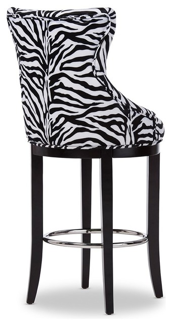 Awe Inspiring Patterned Fabric Upholstered Bar Stool With Metal Footrest Ibusinesslaw Wood Chair Design Ideas Ibusinesslaworg
