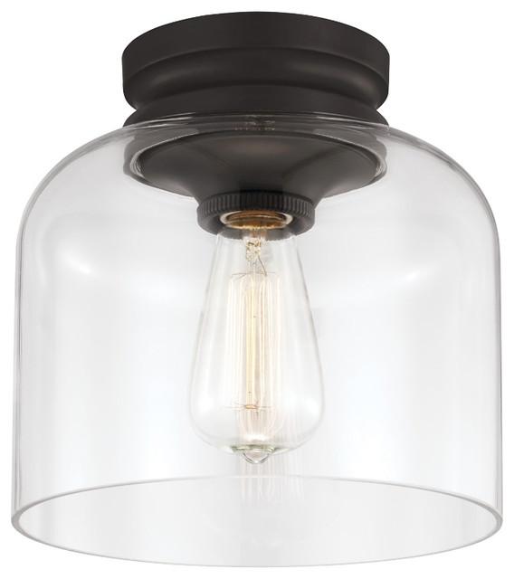Hounslow 1-Light Flush Mount Oil Rubbed Bronze Clear Glass