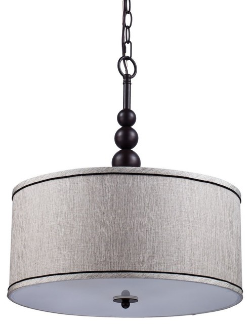 Modern 3 Light Linen Fabric Drum Shade And Gl Chandeliers Transitional Pendant Lighting By Eco