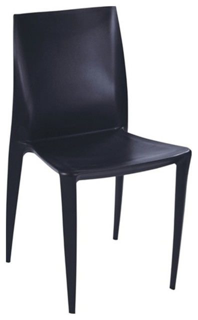 Angles plastic dining chair black contemporary dining for Black plastic dining chairs