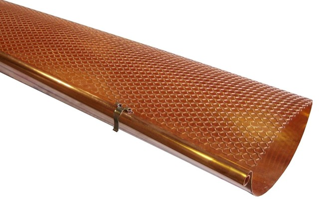 Half Round Copper Hinged Gutter Screens Contemporary