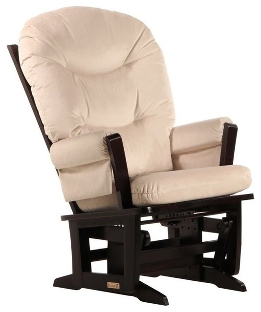 Dutailier Modern Glider in Espresso and Light Beige Fabric by Dutailier Group