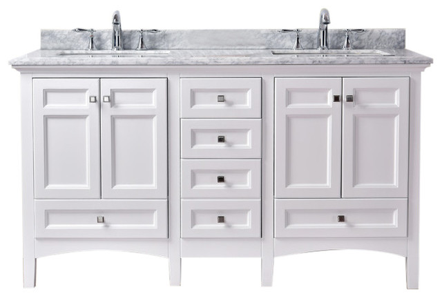 Luz 60 Double Sink Bathroom Vanity, White.