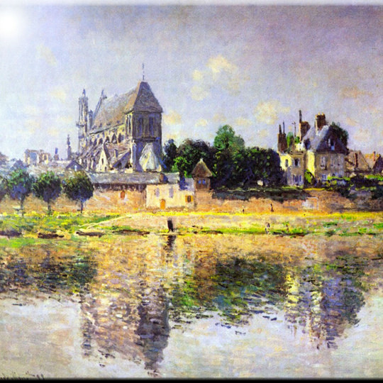 Claude Monet Art Monets Garden In Vetheuil Design Ceramic Art Tile