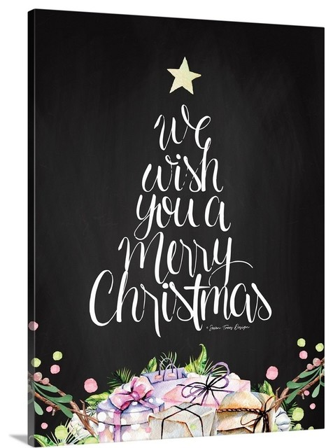 we wish you a merry christmas wrapped canvas art print contemporary prints and posters by great big canvas we wish you a merry christmas wrapped canvas art print 12 x16 x1 5