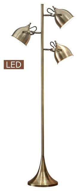 "Caprice 64"" Led Floor Lamp, Antique Satin Brass."