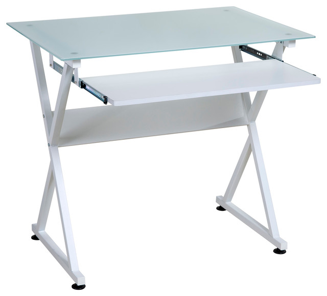 Onespace Ultramodern Glass Computer Desk, Pull-Out Keyboard Tray, White.