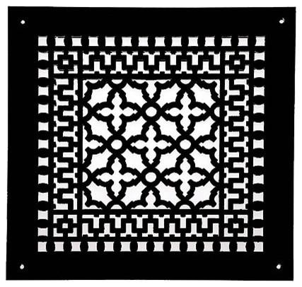 Aluminum Scroll Pattern Grille, Black, 12x12.