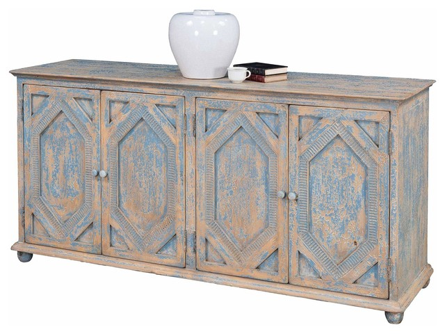 Terrific Janvier French Country Rustic Blue And White Wood Buffet Sideboard Download Free Architecture Designs Scobabritishbridgeorg