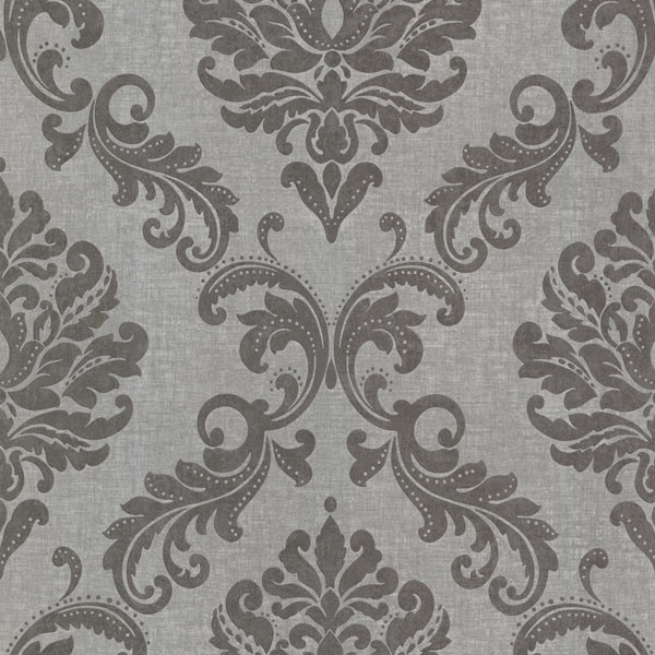 Sebastion Gray Damask Wallpaper Bolt