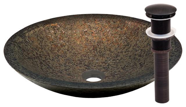 Laghetto Glass Vessel Bathroom Sink Set, Oil Rubbed Bronze Finish.