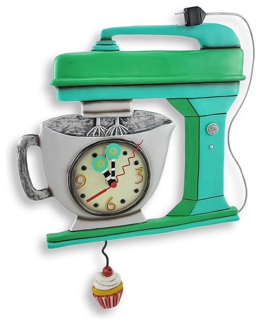 Allen Designs Green Vintage Kitchen Mixer Wall Clock With Cupcake Pendulum  Traditional Wall Clocks