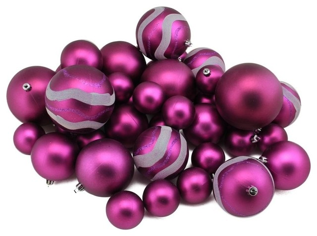 "Northlight 24ct Pink Magenta Shatterproof 4-Finish Christmas Ball Ornaments 2.5/"""