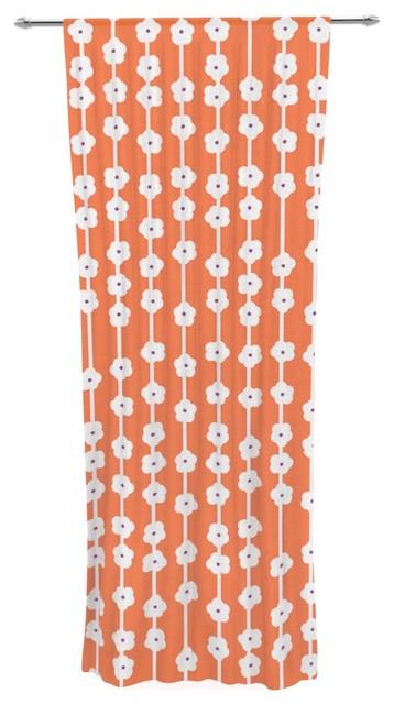 "Heidi Jennings ""orange You Cute"" Tangerine White Decorative Sheer Curtain."