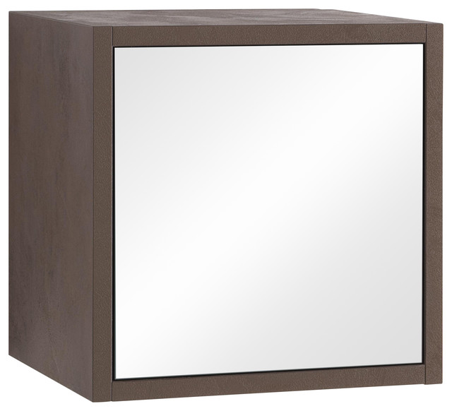 Marte Mirrored Wall Cabinet, Brown Stone