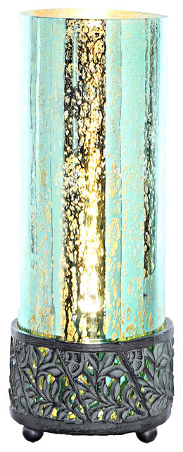 12.9 Studio Art Mercury Glass Round Uplight Accent Lamp, Teal.