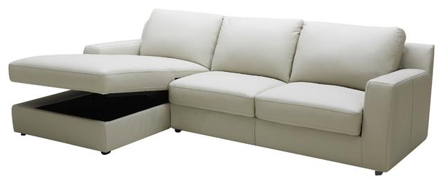 Lauren Light Gray Premium Leather Sectional Sleeper with ...