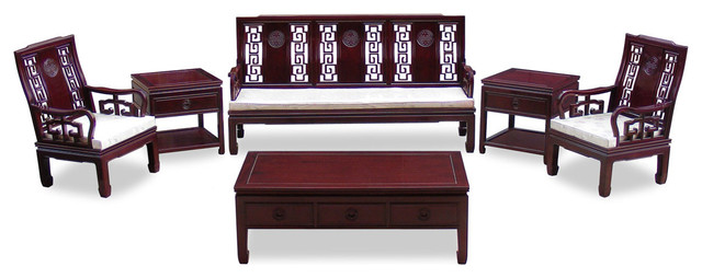 Rosewood longevity design sofa 6 piece set asian for Oriental sofa designs