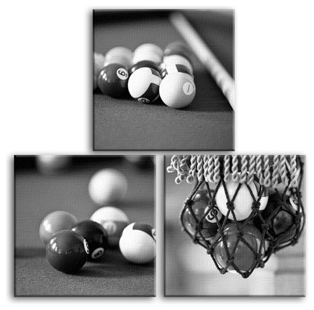 3 Piece Billiard Pool Room Square Canvas Contemporary Black White Wall Art And Signs By The Artful Element