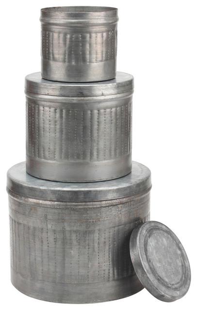 Aged Galvanized Metal Round Storage Boxes, Set Of 3 Industrial Storage Bins