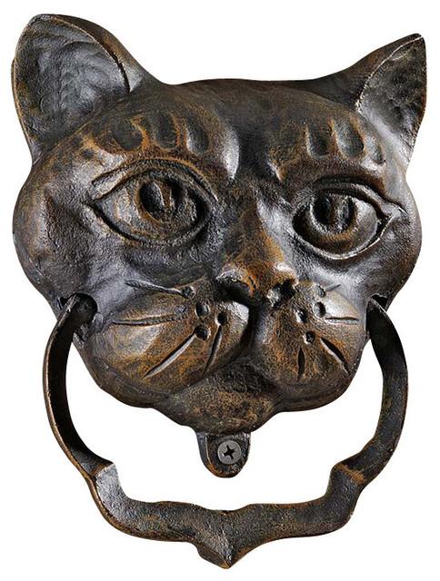 Cat iron door knocker traditional door knockers by for 10 downing street lion authentic foundry door knocker