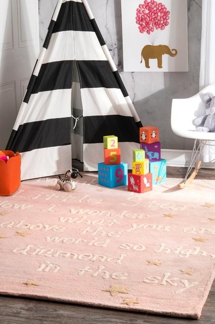 Nuloom Kids Hand Tufted Trenton Twinkle Wool Area Rug, Baby Pink, 6&x27;x9&x27;.