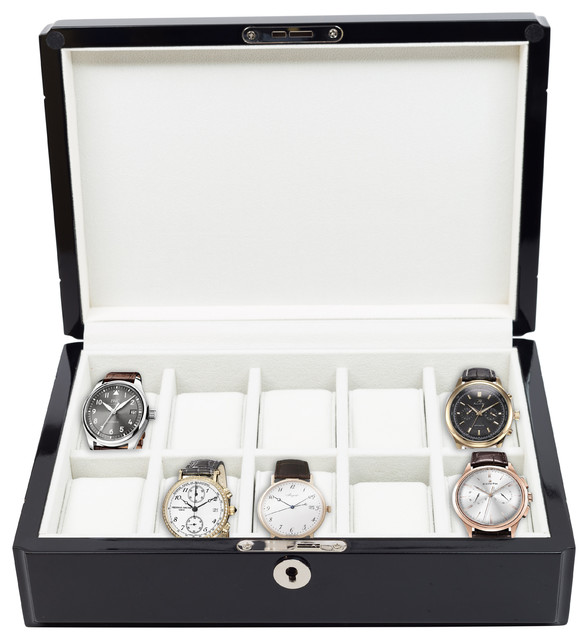 10 Piece High Gloss Piano Black Watch Box Display Case.