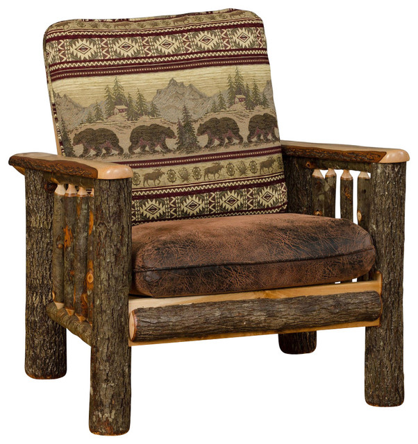 Rustic Hickory Living Room Chair, Bear Mountain