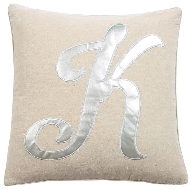 Amanda K Silver Letter Pillow 40x40 Contemporary Decorative Delectable Lush Decor Pillows