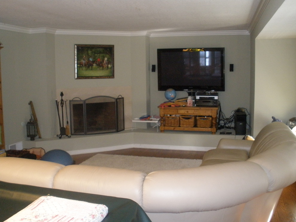 Transitional family room - before