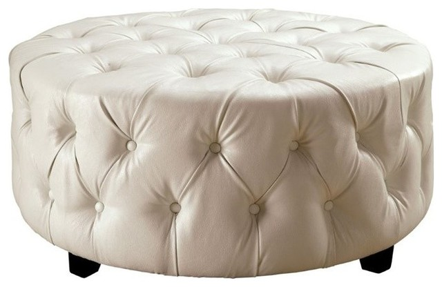 Excellent Furniture Of America Aviles Round Tufted Leather Ottoman In White Spiritservingveterans Wood Chair Design Ideas Spiritservingveteransorg