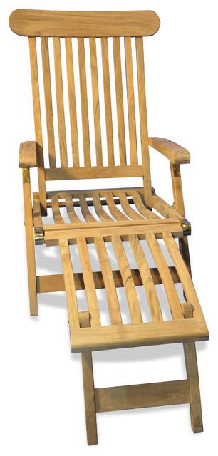 Teak Steamer Chaise Lounge, Set Of 2.
