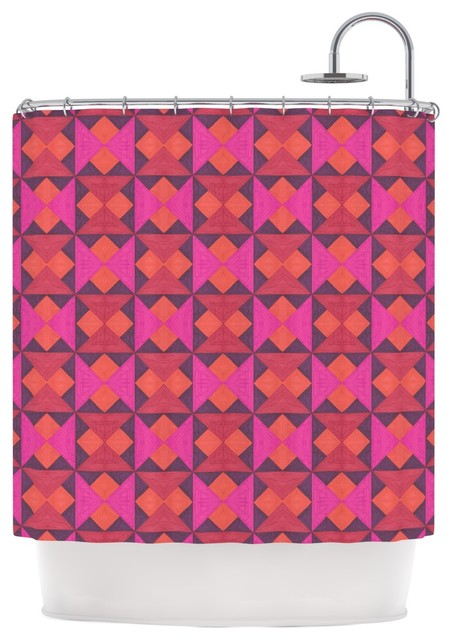 Empire Ruhl A Quilt Pattern Pink Red Shower Curtain