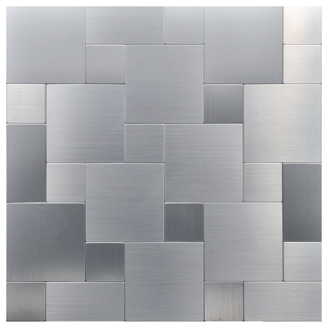"""Contemporary Wall Tile 12""""x12"""" peel and stick wall tile, puzzle metal square"""