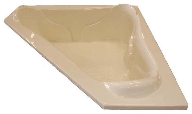 American Acrylic And Injection Corner Air Jet Tub, Biscuit.