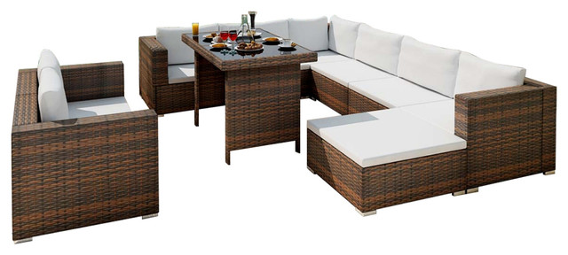 Fantastisch VidaXL 28-Piece Dining Lounge Set Black Poly Rattan - Tropical  VM11