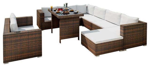 Frisch VidaXL 28-Piece Dining Lounge Set Black Poly Rattan - Tropical  LO62
