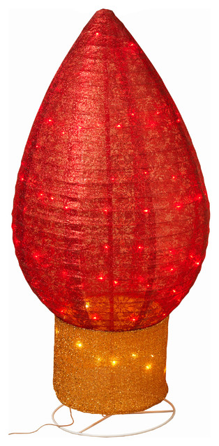 42-Inch Tall, Red, Lighted Christmas Bulb Decoration With Snowflake Accents.