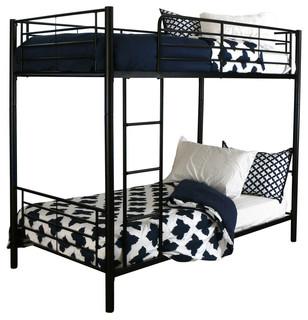 Twin Metal Bunk Bed, Black, Black