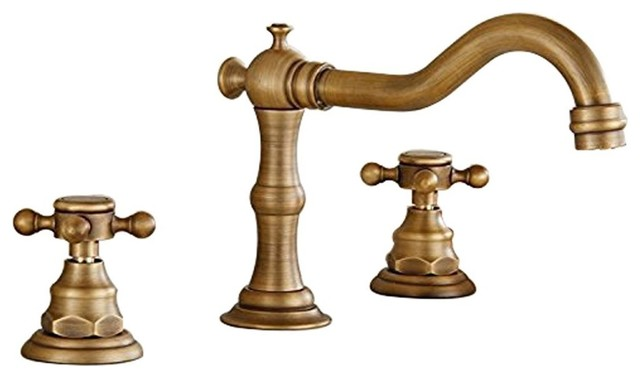Deck Mounted 3-Hole Double Handle Widespread Bathroom Faucet, Antique Brass.
