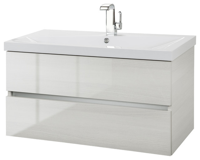 """White Birch 36"""" Wall Hung Gloss Vanity 2 Drawer With Top By Cutler."""