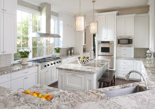 Dallas Traditional Kitchen With Alaskan White Granite By