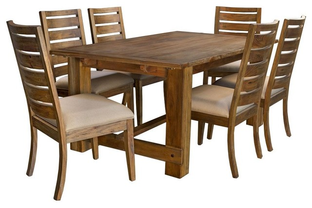 A-America Anacortes Trestle Dining Room Set With Upholstered Chairs, 7-Piece by A-America