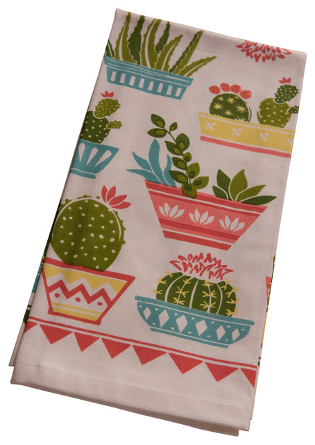 Cactus garden printed towels set of 2 southwestern for Southwestern towel bars