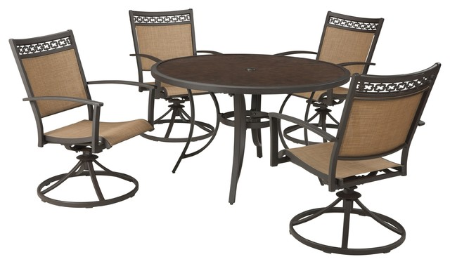 Outdoor Carmadelia 5-Piece Set-Round Dining Table With 4 Sling Swivel Chair  sc 1 st  Houzz & Outdoor Carmadelia 5-Piece Set-Round Dining Table With 4 Sling ...